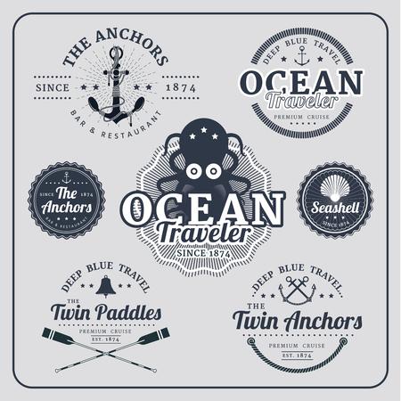 Vintage nautical labels vector set in blue colour