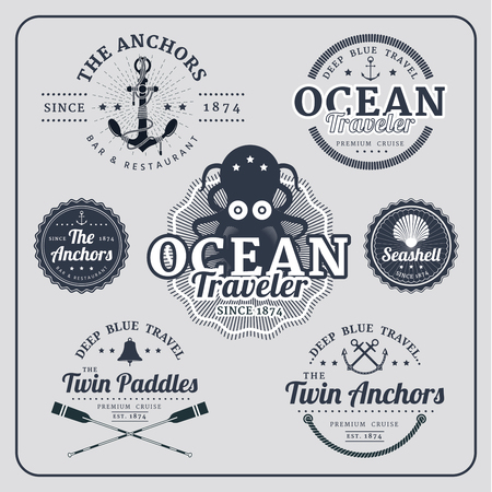 nautical star: Vintage nautical labels vector set in blue colour