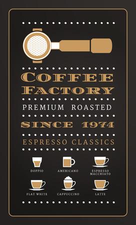 Vintage poster menu coffee factory in retro style on dark background Иллюстрация