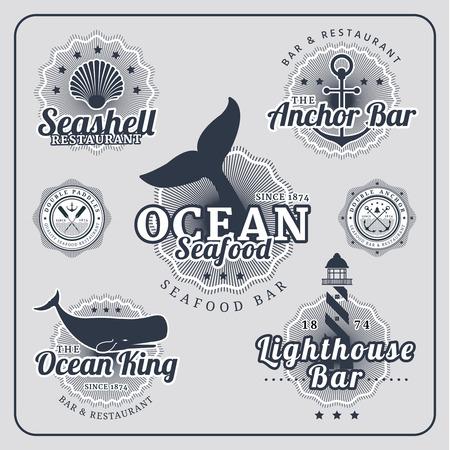 Vintage restaurant nautical labels vector set in blue colour