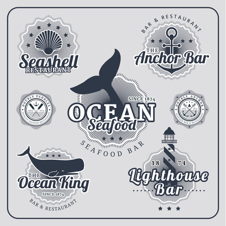 Vintage restaurant nautical labels vector set in blue colour