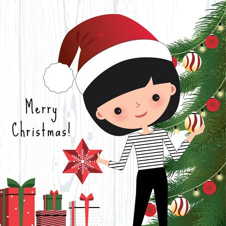 decorating christmas tree: Young woman decorating the christmas tree in home Illustration