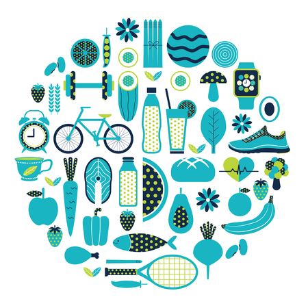 Healthy lifestyle icon set in blue and green colours theme