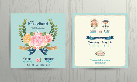 wedding decoration: Floral roses wreath wedding cartoon bride and groom couple invitation card on net background