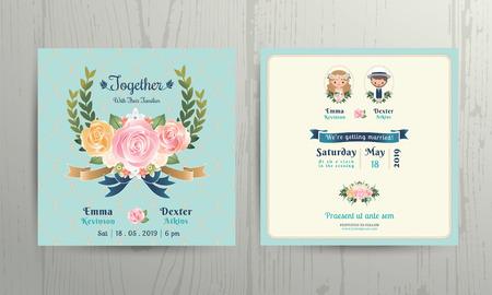 svatba: Květinové věnce růže svatební karikatura nevěsta a ženich pár pozvánku na čisté pozadí