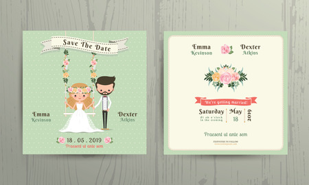 love seat: Rustic wedding cartoon bride and groom couple invitation card on wood background