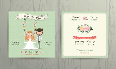 Rustieke bruiloft cartoon bruid en bruidegom paar uitnodigingskaart op houten achtergrond