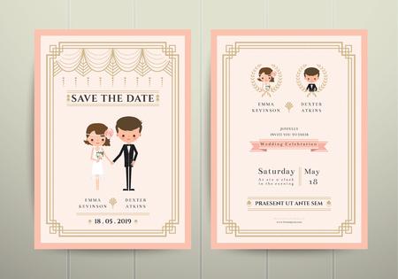 Art Deco Cartoon Couple Wedding Invitation Card on Wood Background