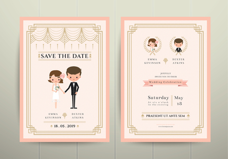 cartoon wedding couple: Art Deco Cartoon Couple Wedding Invitation Card on Wood Background