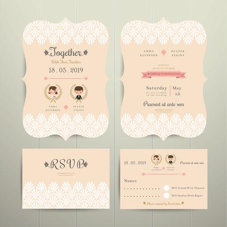 Art Deco Cartoon Couple Wedding Invitation Card and RSVP Set on wood background
