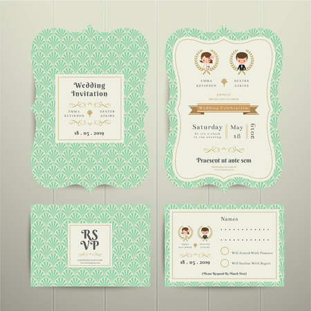 Art Deco Cartoon Couple Wedding Invitation Card RSVP Set Gold and Green on wood background Vectores