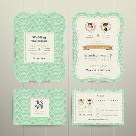 matrimonio feliz: Art Deco de la historieta pares de la boda de RSVP de la tarjeta de invitación conjunto de oro y verde sobre fondo de madera