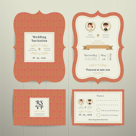 cartoon bouquet: Art Deco Cartoon Couple Wedding Invitation Card RSVP Set Gold and Orange on wood background Illustration