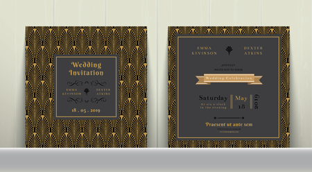 date palm: Art Deco Wedding Invitation Card  in Gold and Dark Gray on wood background