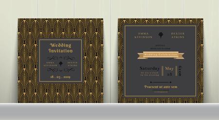 dark gray: Art Deco Wedding Invitation Card  in Gold and Dark Gray on wood background