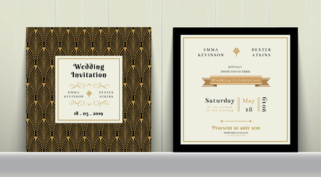 Art Deco Wedding Invitation Card in Gold and Black Colour on wood background Фото со стока - 54929749