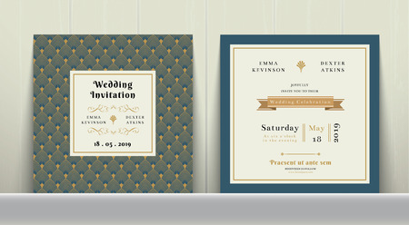 Art Deco Wedding Invitation Card in Gold and Blue on wood background Vectores