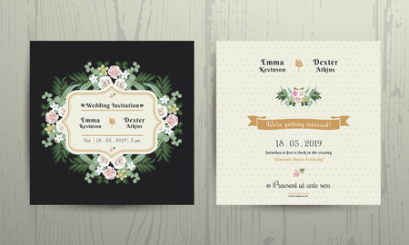 Botanical Leaves & Flowers Invitation Card on wood background