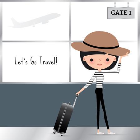 avion caricatura: Mujer de dibujos animados viaja con una bolsa de equipaje en el aeropuerto