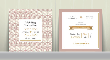 Art Deco Wedding Invitation Card in Gold and Pink on wood background