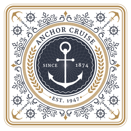 Nautical anchor cruise retro card with Square Frame