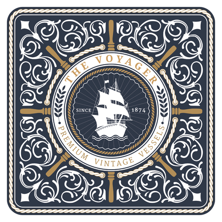 Nautical The Voyager Retro Card with Square Frame Vettoriali