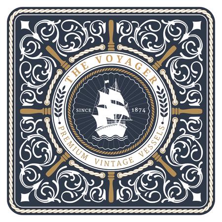 voilier ancien: Nautique Le Rétro carte Voyager avec cadre carré