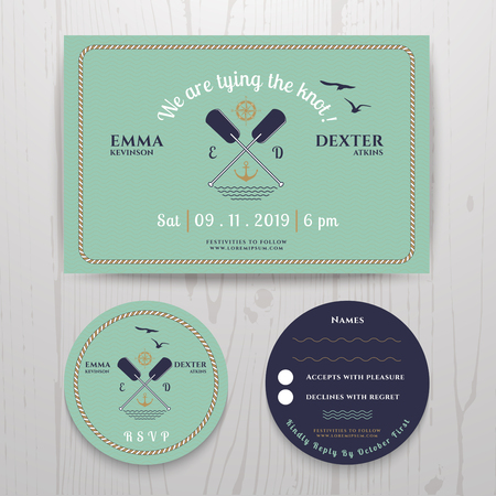 rsvp: Nautical twin paddle wedding invitation and RSVP card template set on wood background