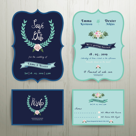 outdoor wedding: Navy Blue Wedding Invitation Card with Save the Date Set on Wood Background Illustration