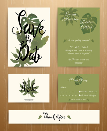 Tropical Palm Leaves Wedding Invitation Card Set on wood background