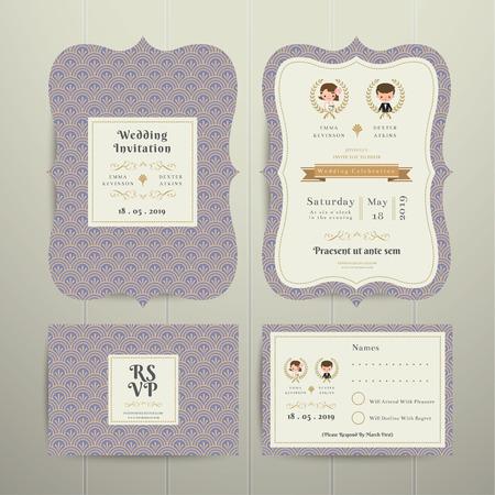 Art Deco Cartoon Couple Wedding Invitation Card RSVP Set Lavender on wood background