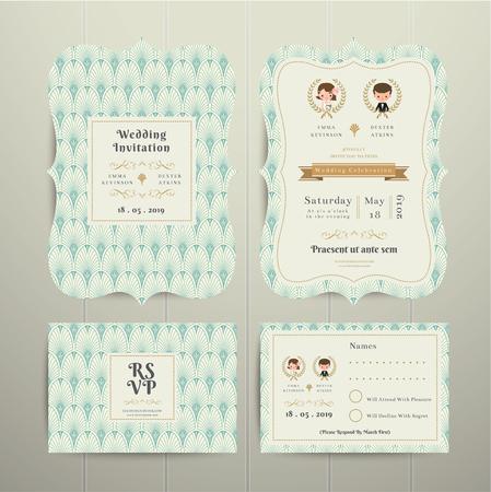 wedding love: Art Deco Cartoon Couple Wedding Invitation Card RSVP Set Mint and Gold on wood background Illustration