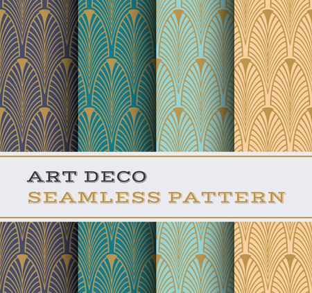 vintage patterns: Art Deco seamless pattern with 4 colours background Illustration