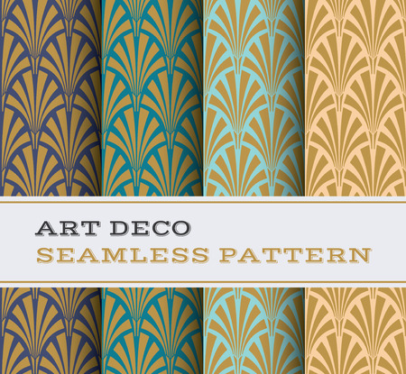 Art Deco seamless pattern with 4 colours background Çizim