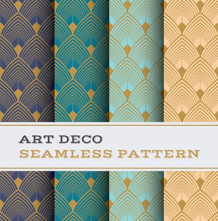 Art Deco nahtlose Muster mit 4 Farben Hintergrund Vektorgrafik