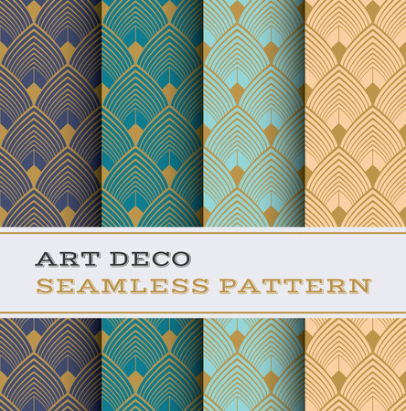 golden dusk: Art Deco seamless pattern with 4 colours background Illustration