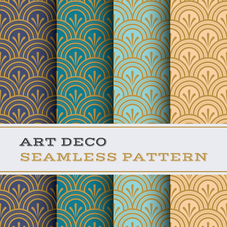 Art Deco seamless pattern with 4 colours background Vectores