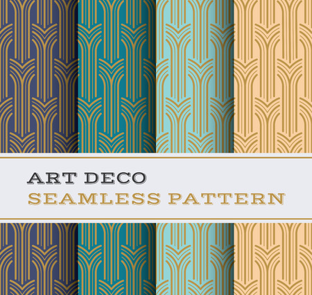 Art Deco seamless pattern with 4 colours background Vettoriali