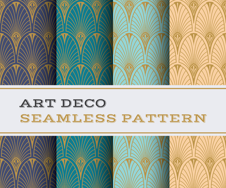 Art Deco seamless pattern with 4 colours background 일러스트