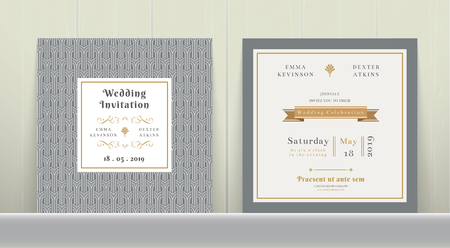 Art Deco Wedding Invitation Card in Gold and Gray on wood background