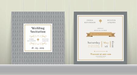 Tarjeta de invitación de la boda del art déco en oro y gris en el fondo de madera