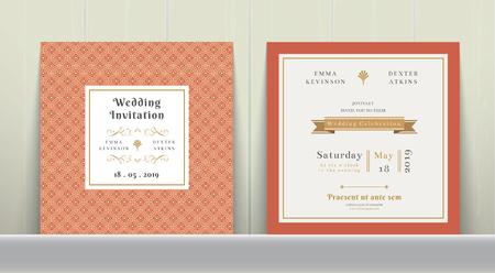 Art Deco Wedding Invitation Card in Gold and Orange on wood background Иллюстрация