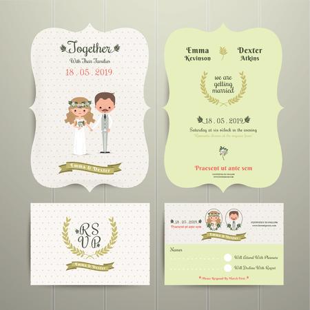 rsvp: Bride & Groom Cartoon Romantic Farm Wedding Invitation Card and RSVP set on wood background