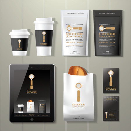 Coffee factory vintage corporate identity template design set on wood background