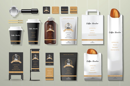 Coffee roaster black and gold corporate identity template design set on wood background Vectores