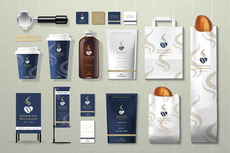 namecard: Coffee roaster corporate identity template design set on wood background