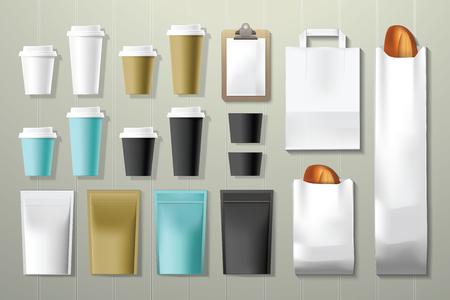 bolsa de pan: cafetería y restaurante envases de identidad corporativa plantilla de maqueta en madera de fondo