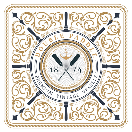voyager: Nautical double paddle retro card with Square Frame
