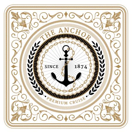Nautical the anchor retro card with Square Frame