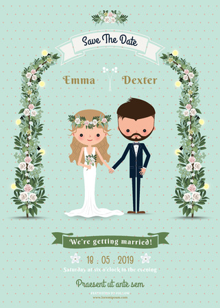 Hipster wedding invitation card bride & groom cartoon beach theme on polka dot background Vectores